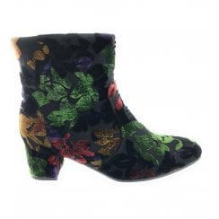 22-61625 Mayenne Black Floral Multi Ankle Boot