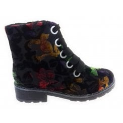 22-63103 Dover Black Floral Multi Lace-Up Boot