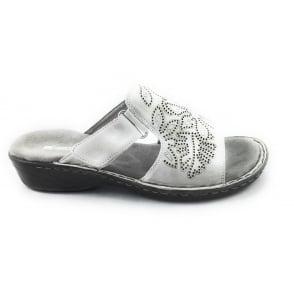 22-67227 Korsika Grey Canvas Open-Toe Mule Sandal
