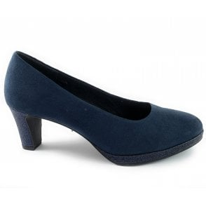 22409-33 Navy Faux Suede Court Shoe
