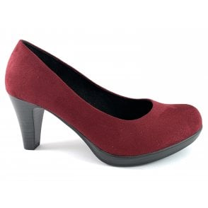 22411-33 Wine Faux Suede Court Shoe