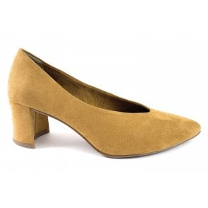 22416-33 Mustard Faux Suede Court Shoe