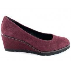 22422-23 Burgundy Suede Wedge Loafer