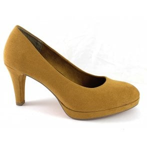 22428-33 Mustard Faux Suede Court Shoe