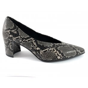 22430-33 Dark Grey Reptile Print Court Shoe
