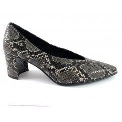 22430-33 Dark Grey Reptile Print Court Shoe