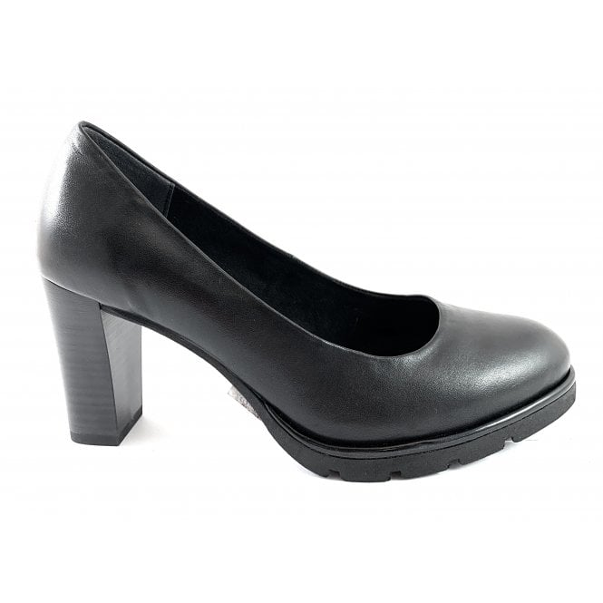 Marco Tozzi 22549-23 Black Leather Court Shoe