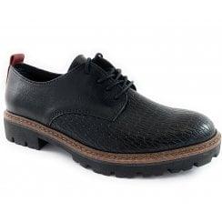 23702-23 Black Faux Leather Lace-Up Shoe