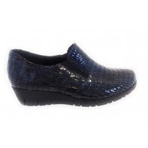 2404 Navy Blue Patent Print Wedge Shoe