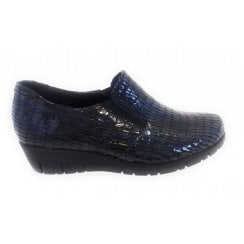 2404 Navy Blue Patent Print Wedge Shoe