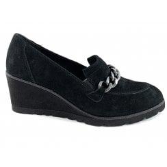 24410-23 Black Suede Wedge Loafer