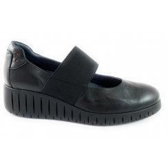 24703-23 Black Leather Wedge Shoe