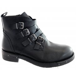 25021-23 Black Leather Ankle Boot