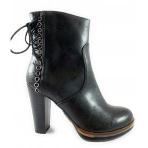 25047-23 Black Heeled Ankle Boot