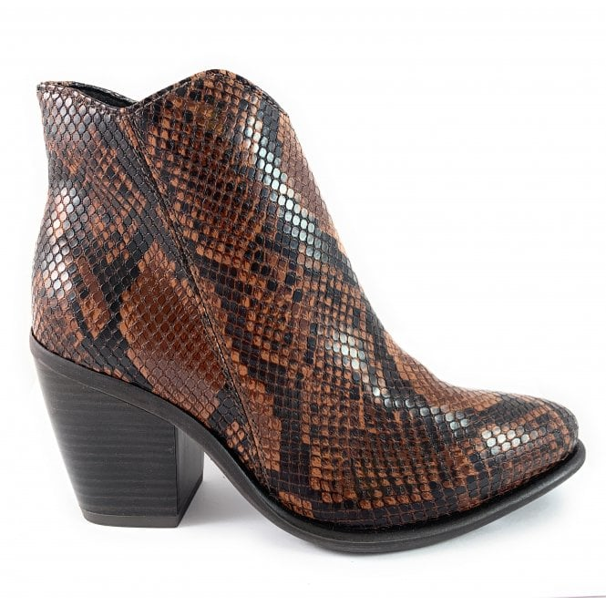 Marco Tozzi 25062-33 Brown reptile Print Ankle Boot