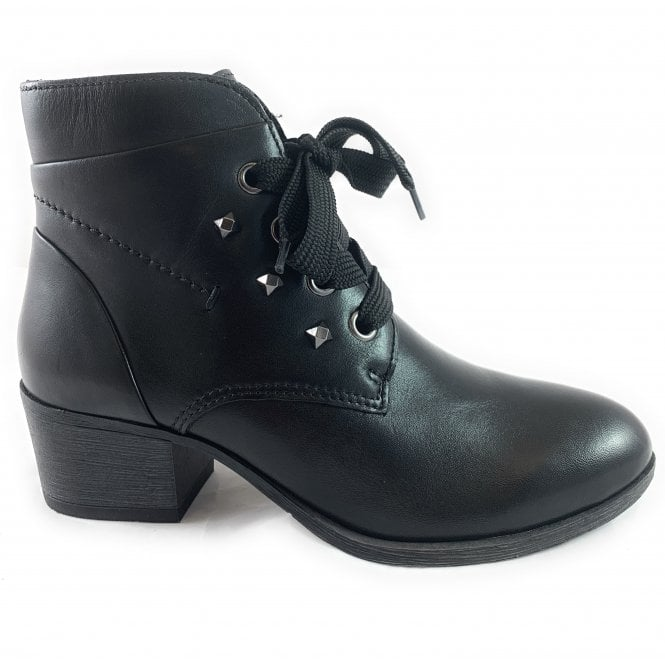 Marco Tozzi 25103-33 Black Leather Lace-Up Ankle Boot