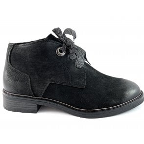 25104-33 Black Leather Lace-Up Ankle Boot
