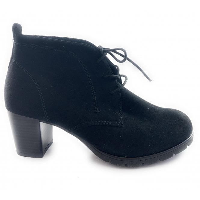Marco Tozzi 25107-33 Black Microfibre Lace-Up Ankle Boot