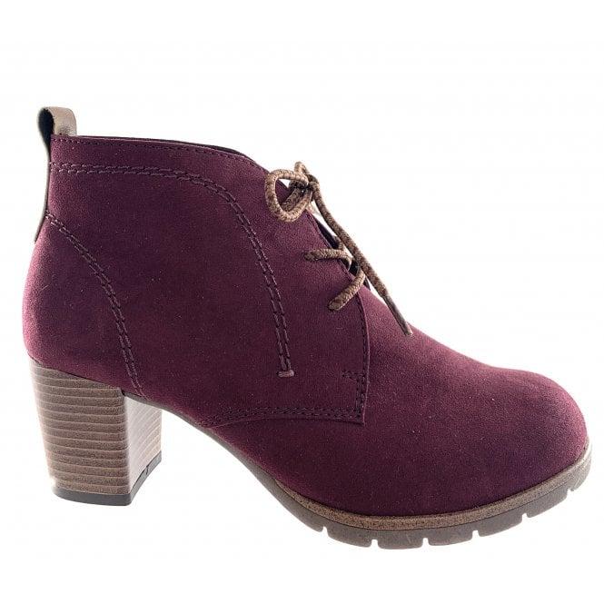 Marco Tozzi 25107-33 Bordeaux Microfibre Lace-Up Ankle Boot