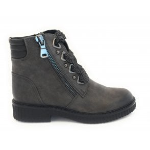 25114-23 Dark Grey Lace-Up Ankle Boot