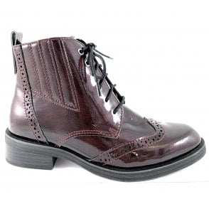 Marco Tozzi 25115-23 Burgundy Patent Lace-Up Brogue Ankle Boot