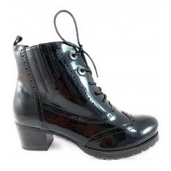 25123-23 Black Patent Lace-Up Brogue Ankle Boot