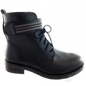 25136-23 Black Leather Ankle Boot