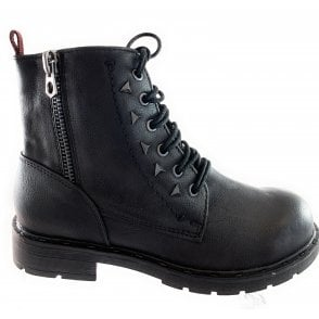 25217-23 Black Faux Leather Biker Boot