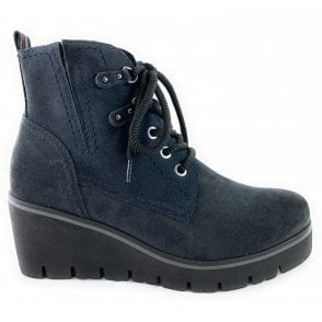 25261-23 Navy Suede Lace-Up Wedge Ankle Boot