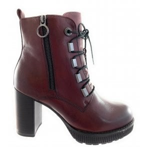 25267-23 Burgundy Leather Ankle Boot