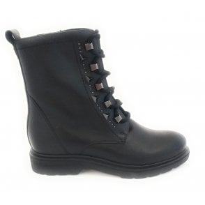 25276-23 Black Leather Biker Boot