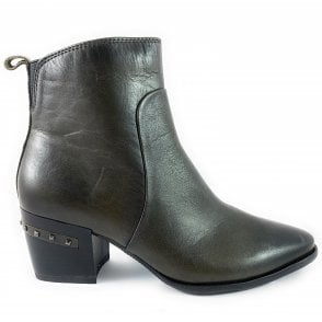 25314-23 Khaki Leather Ankle Boot