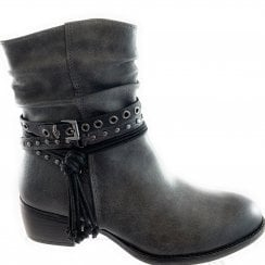 25316-33 Dark Grey Faux Leather Ankle Boot