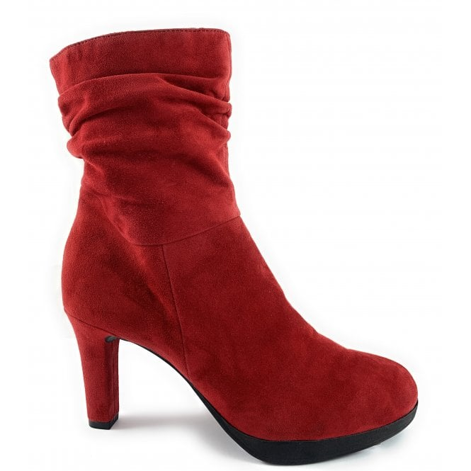 Marco Tozzi 25326-23 Red Suede Slouch Ankle Boot
