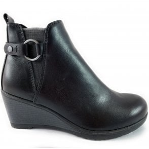 25330-23 Black Wedge Ankle Boot