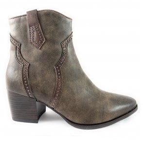 25347-23 Light Brown Faux Leather Ankle Boot