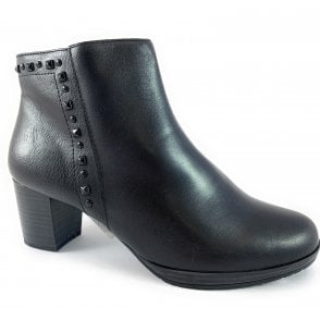 25388-33 Black Leather Ankle Boot