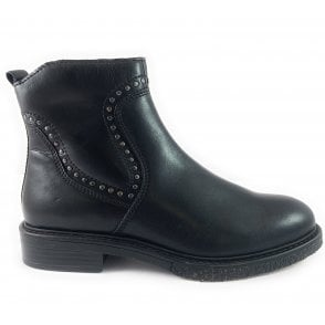 25390-23 Black Leather Ankle Boot