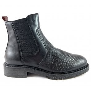25394-23  Black Leather Chelsea Boot