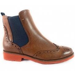 25410-33 Tan Brogue Chelsea Boot