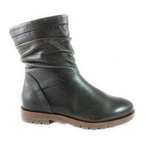 25423-23 Khaki Leather Ankle Boot