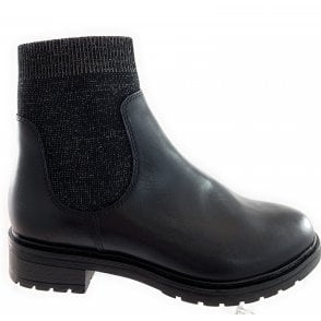 25448-23 Black Leather and Stretch Sock Boot