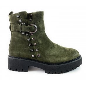 25449-23 Khaki Suede Ankle Boot