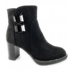 25462-23 Black Faux Suede Ankle Boot
