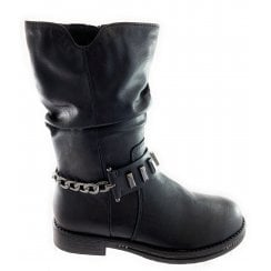 25489-23 Black Leather Mid Calf Boot