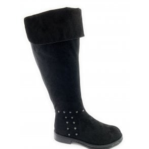 25608-23 Black Faux Suede Knee-High Boot