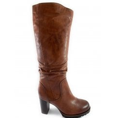 25631-23 Tan Leather Knee-High Boot