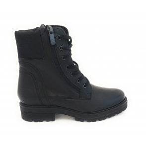 25701-23 Black Leather Biker Boot