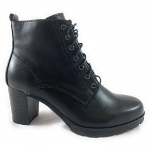 25702-23 Black Faux Leather Lace-Up Ankle Boot