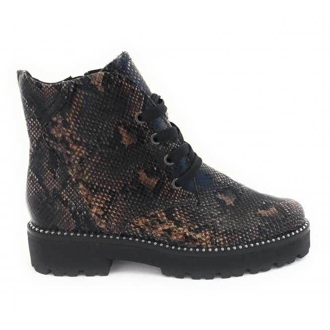 Marco Tozzi 25705-33 Brown Reptile Print Lace-Up Ankle Boot